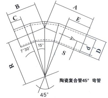 陶瓷复合管45度弯管平面图